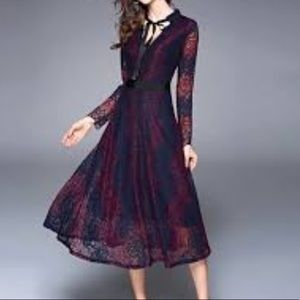 Burgundy Lace Fitted Ribbon Dress Neck Tie